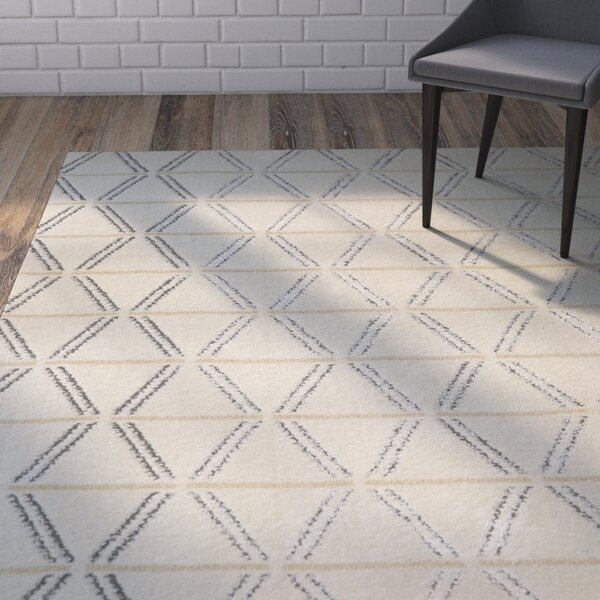 Braydon Linear Diamonds Ivory/Gray Area Rug by Mercury Row