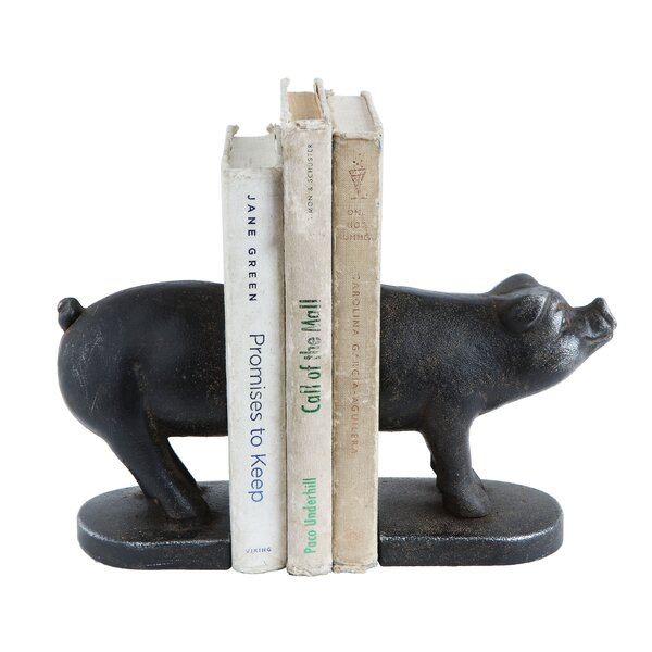 Cast Iron Pig Bookends (Set of 2) by Gracie Oaks