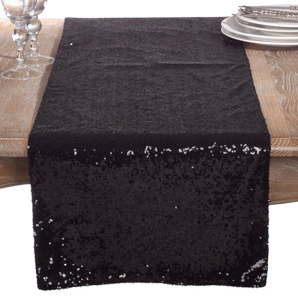 Nahush Shimmering Sequin Evening Dinner Party Wedding Event Table Runner by Everly Quinn