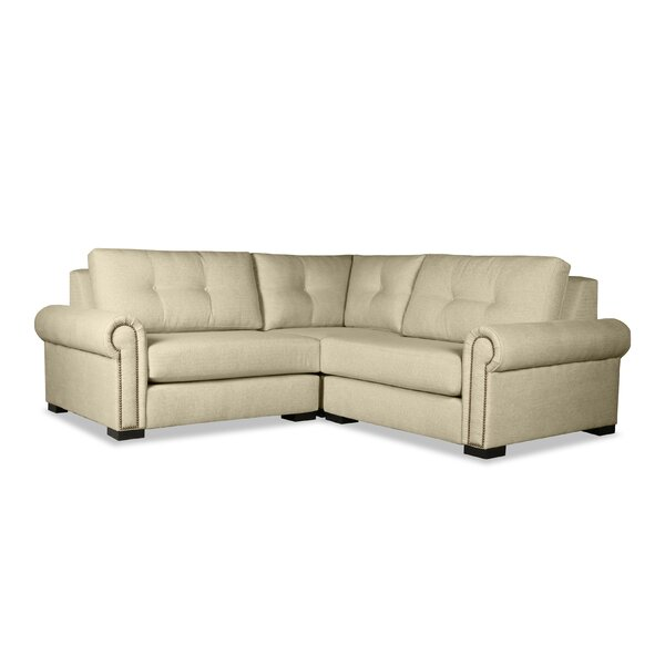 Willia Buttoned Right and Left Arms L-Shape Mini Modular Sectional by Three Posts