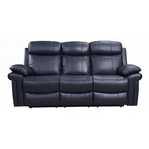 Asbury Leather Reclining Sofa by Red Barrel Studio