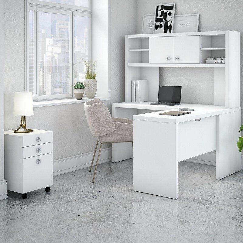 Kathy Ireland Office By Bush Echo 4 Piece L Shape Desk Suite