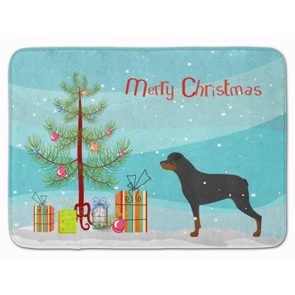 Rottweiler Merry Christmas Tree Memory Foam Bath Rug by The Holiday Aisle