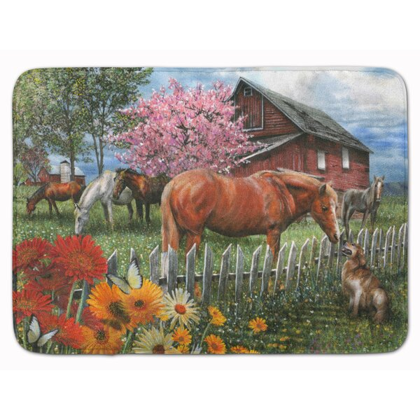 Horse Chatting with The Neighbors Rectangle Microfiber Non-Slip Bath Rug
