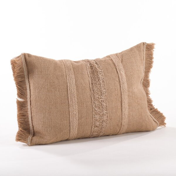 Tela Ruvida Jute Lumbar Pillow by Saro