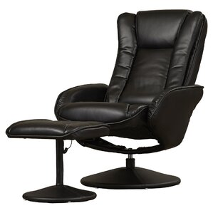 Leather Heated Massage Recliner with Ottoman by Alcott Hill