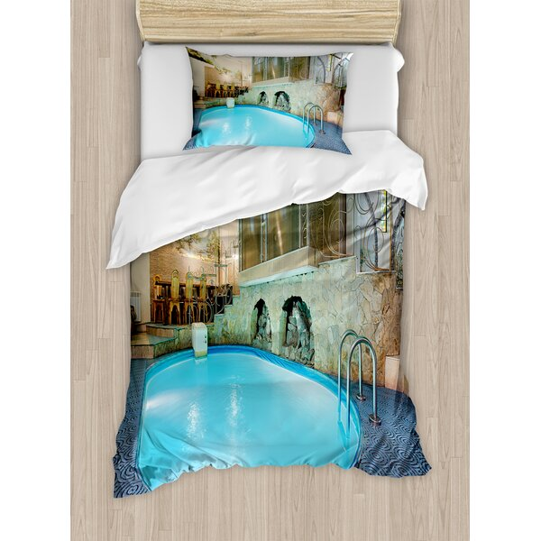 Modern Vivid Swimming Pool in Spa Interior Resort Relaxation Therapy Theme Duvet Set by Ambesonne