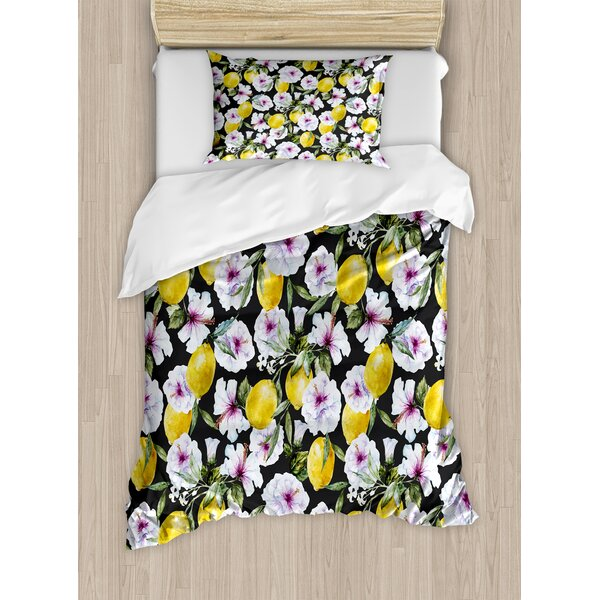 Floral Tropical Hibiscus Blossoms Petals with Lemons Nature Harvest Spring Essence Image Duvet Set by Ambesonne