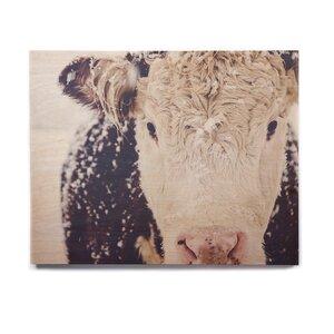 'Snowy Cow' Graphic Art Print on Wood by East Urban Home