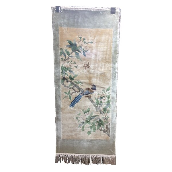 One-of-a-Kind Warlo Chinese Bird Neutral Hand-Knotted Silk Beige/Blue Area Rug by Bloomsbury Market