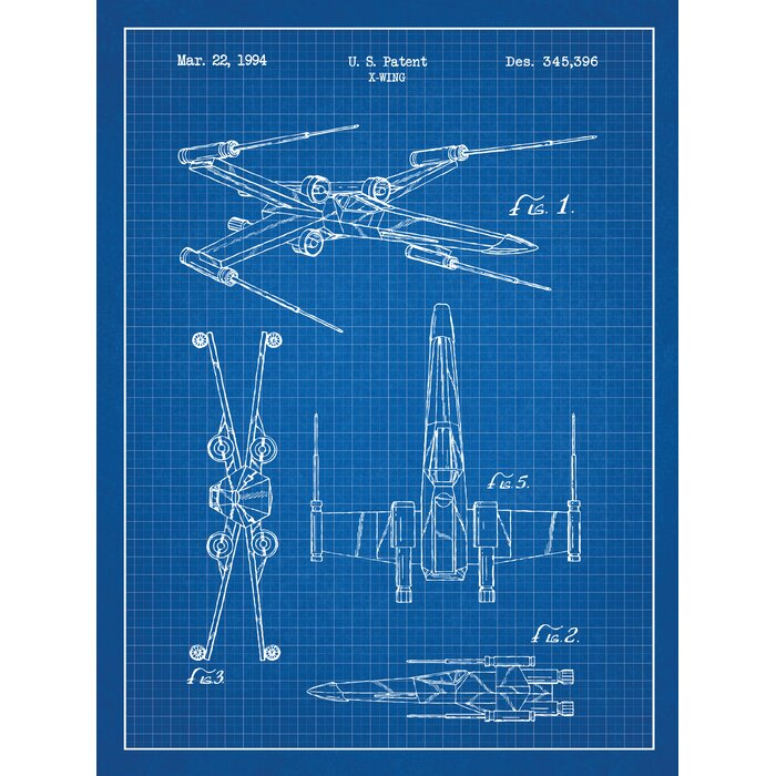 Williston forge star wars x wing 2 blueprint graphic art in blue star wars x wing 2 blueprint graphic art in blue gridwhite malvernweather Images