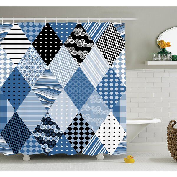 Farm House Geometric Diamond Shaped Lines with Various Nostalgic Fashioned Old Pattern Shower Curtain Set by Ambesonne