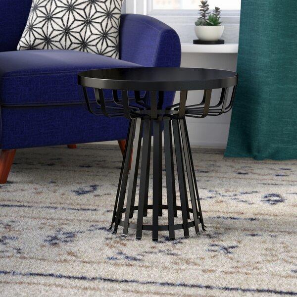 Derosa Metal Iron Base Flat Side Table by Mercury Row