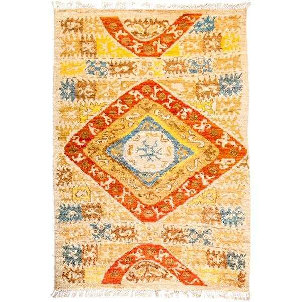 One-of-a-Kind Dex Hand Knotted Wool Yellow/Orange Area Rug by Isabelline