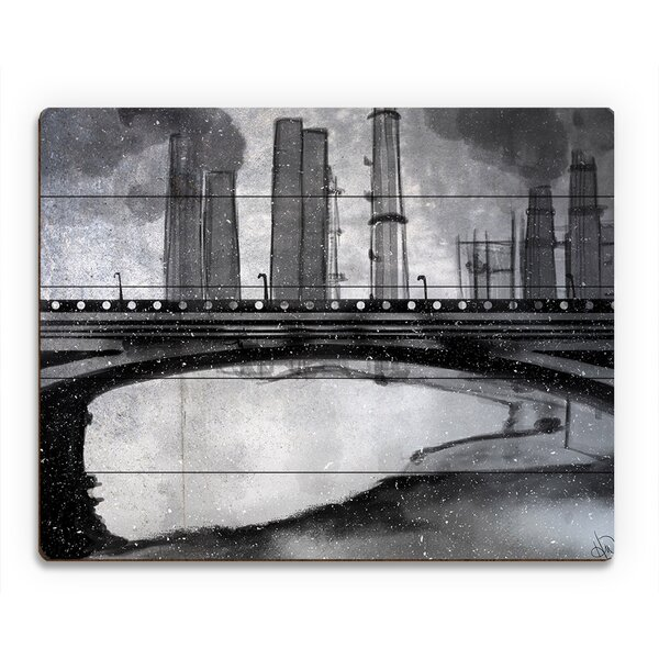 Industrial City Bridge Painting Print on Plaque by Click Wall Art