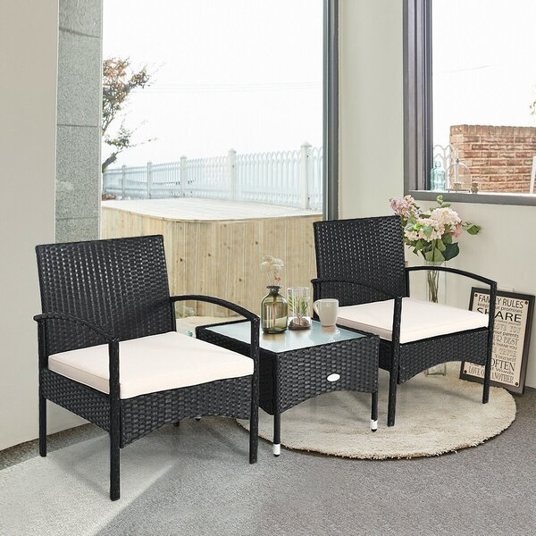 Derica Patio 3 Piece Rattan Seating Group with Cushions by Latitude Run