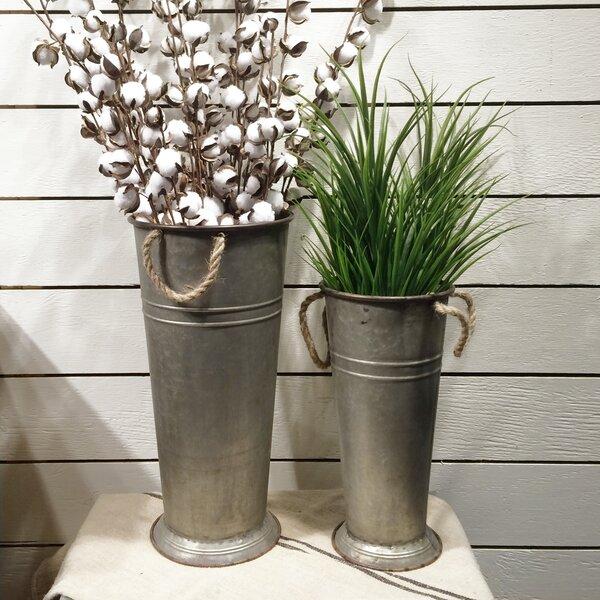 Warriner Farmhouse Style 2 Piece Metal Pot Planter Set (Set of 2) by Gracie Oaks