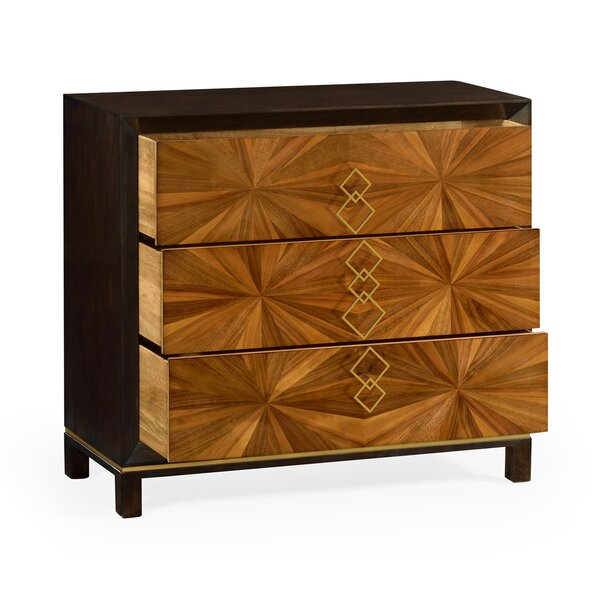 Bookmatched 3 Drawer Accent Chest by Jonathan Charles Fine Furniture