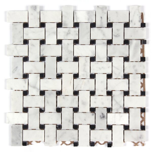 Bianco Carrara Basket Weave Polished Mosaic Tile in Black Dot by Seven Seas