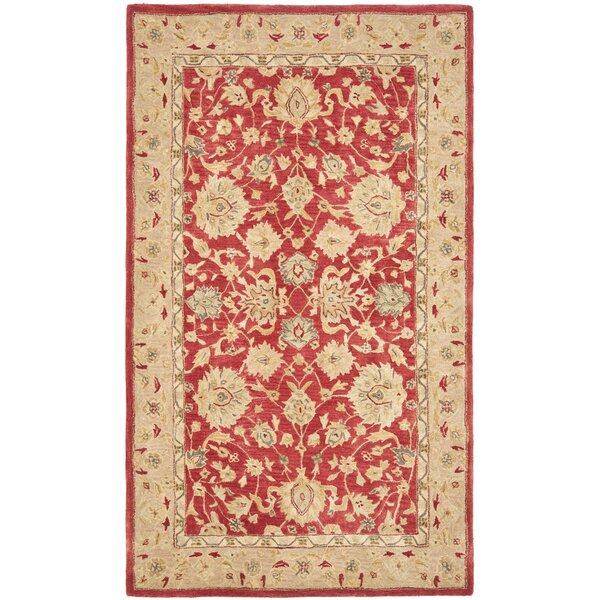 Pritchard Hand-Tufted/Hand-Hooked  Red/Ivory Area Rug by Three Posts