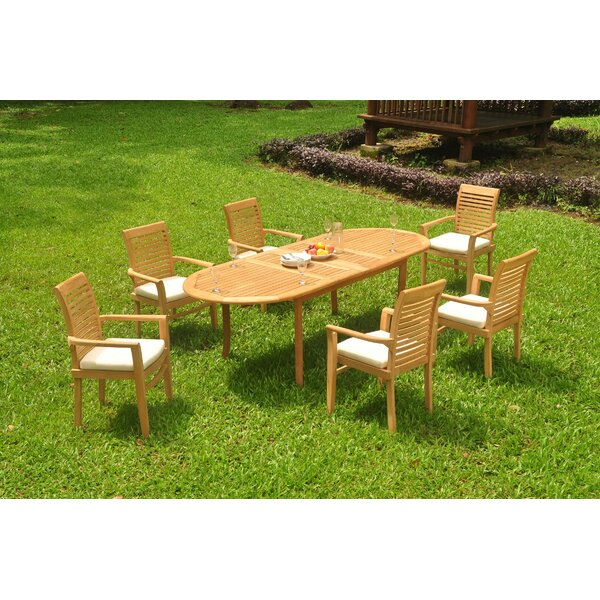Ibrahim 7 Piece Teak Dining Set by Rosecliff Heights