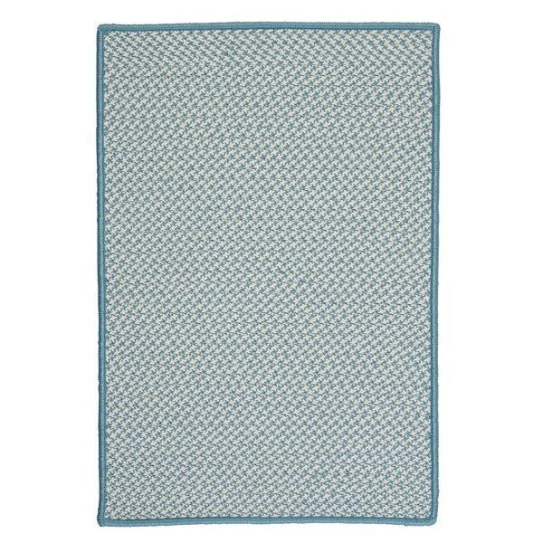 Outdoor Houndstooth Tweed Sea Blue Area Rug by Colonial Mills