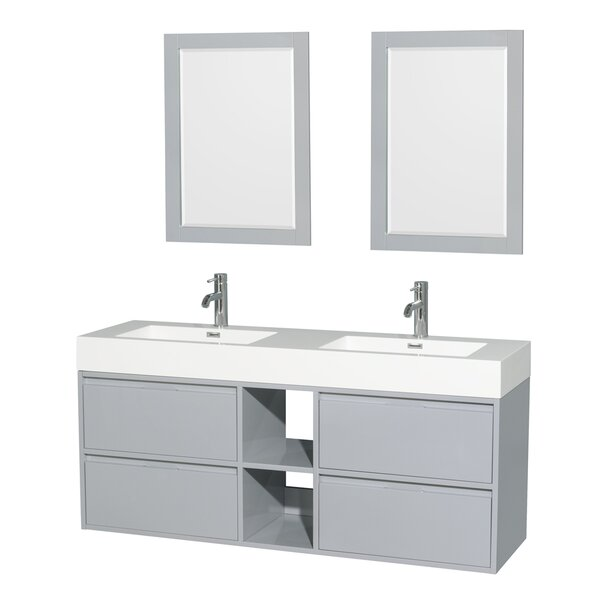 Daniella 60 Double Bathroom Vanity Set with Mirror by Wyndham Collection