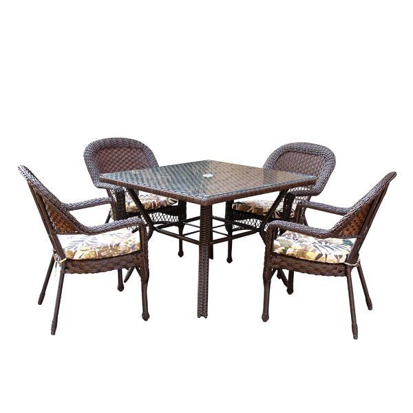 Belwood Resin Wicker 5 Piece Dining Set with Floral Cushions by Bay Isle Home
