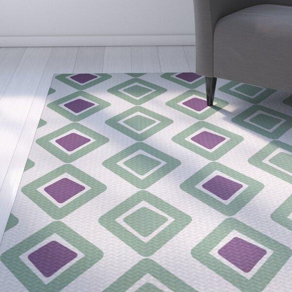 Abbie Geometric Green/Purple Indoor/Outdoor Area Rug by Ebern Designs