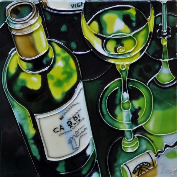 Green Wine Tile Wall Decor by Continental Art Center