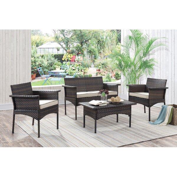 Inge 4 Piece Sofa Set with Cushions by Bayou Breeze