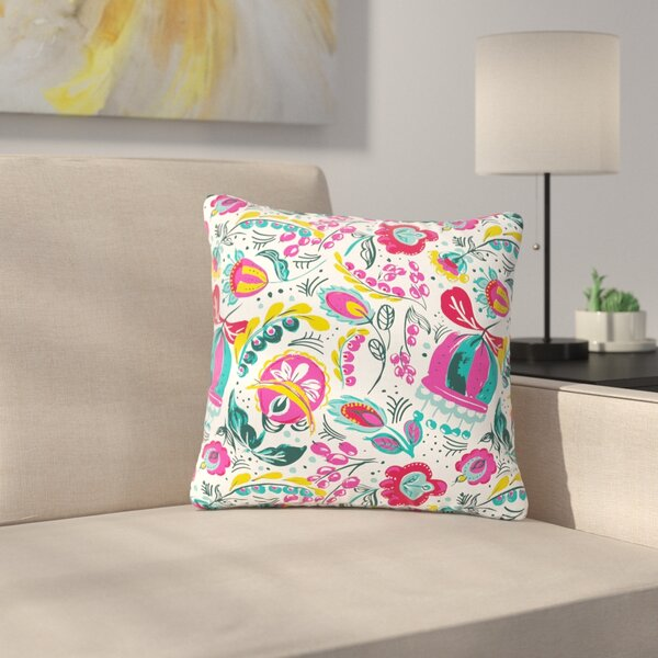 Agnes Schugardt Folk in the Field Floral Pattern Outdoor Throw Pillow by East Urban Home