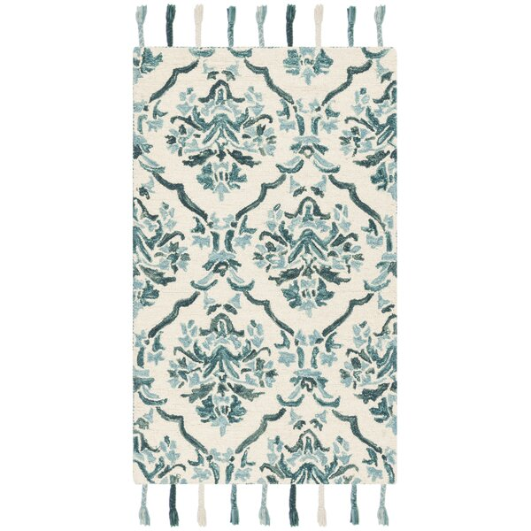 Niederanven Hand Tufted Wool Ivory/Green Area Rug by Bungalow Rose