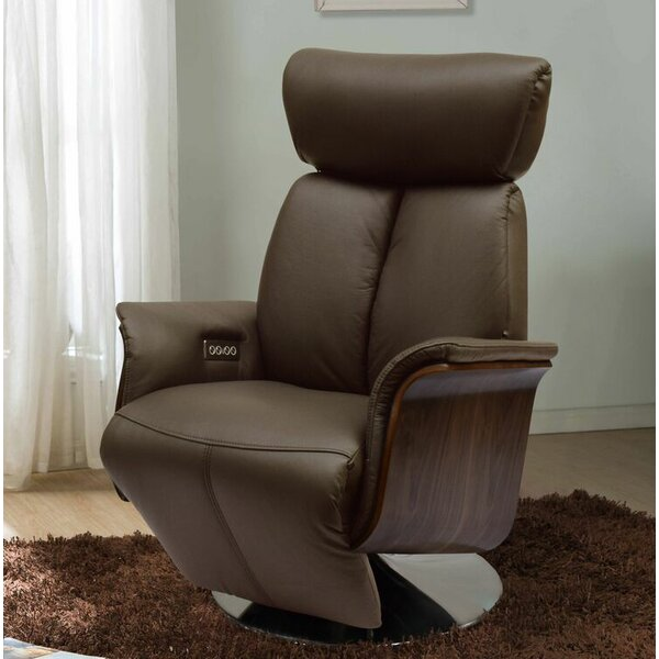Creswell Leather Power Recline Swivel Recliner by Brayden Studio