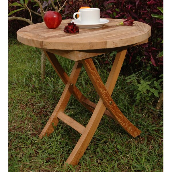 Farnam Folding Teak Side Table by Rosecliff Heights