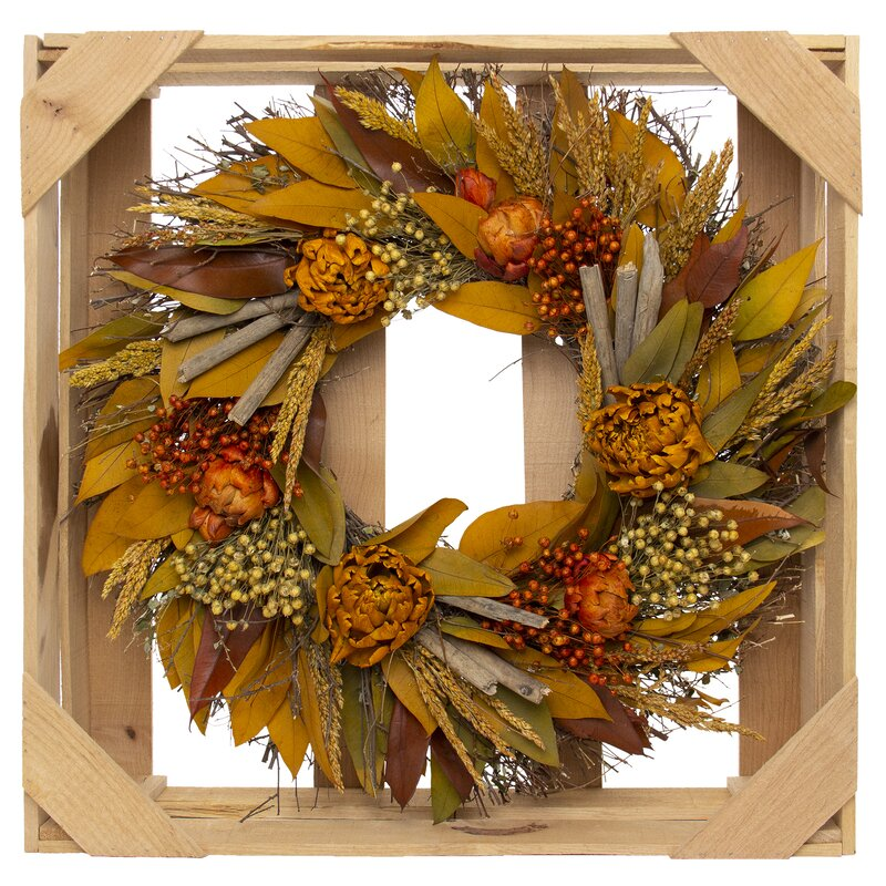 "Preserved Autumn 20"" Artichokes Wreath"
