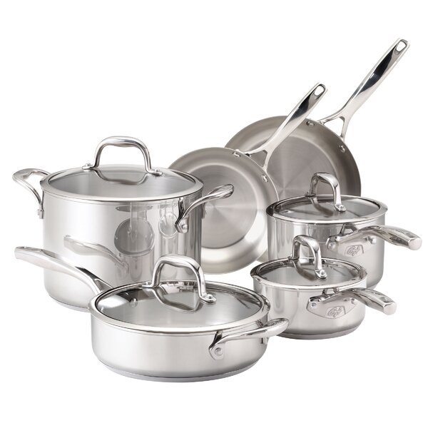 Stainless Steel 10-Piece Cookware Set by Guy Fieri