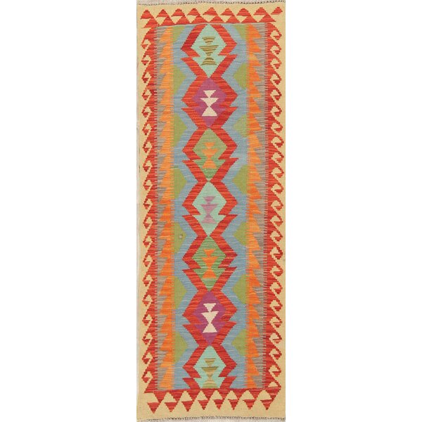 One-of-a-Kind Canton Oriental Kilim Geometric Top Quality Handwoven Flatweave Runner 2'3 x 6'6 Wool Red/Blue/Orange Indoor Area Rug
