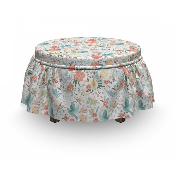 Pigeons Carrying Flowers Ottoman Slipcover (Set Of 2) By East Urban Home