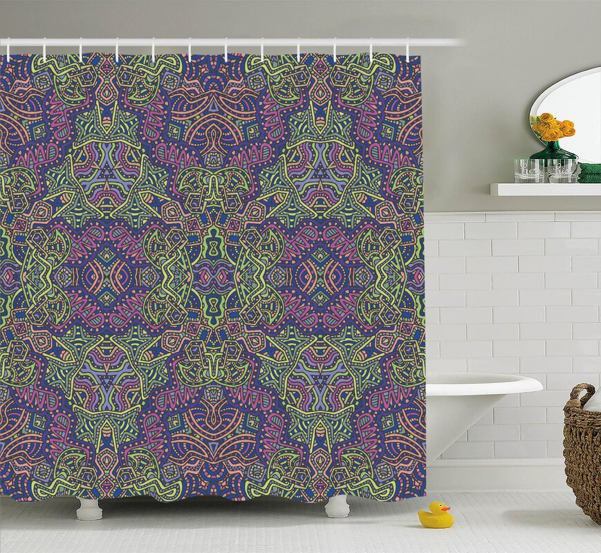 Susana Fractal Pattern Vintage Tribal Themed Modern Mandala Bohemian Hippie  Art Shower Curtain