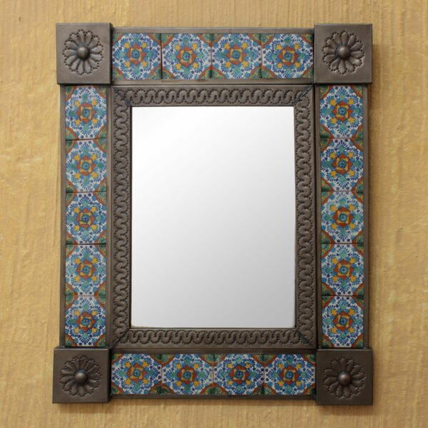Talavera Marigold Tin and Ceramic Wall Mirror by Novica