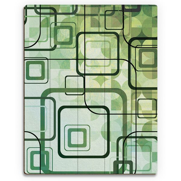 Chartreuse Shining Squares Graphic Art on Plaque by Click Wall Art
