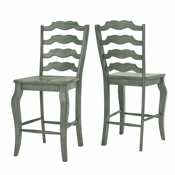 Brigg French 24.21 Bar Stool (Set of 2) by Three Posts