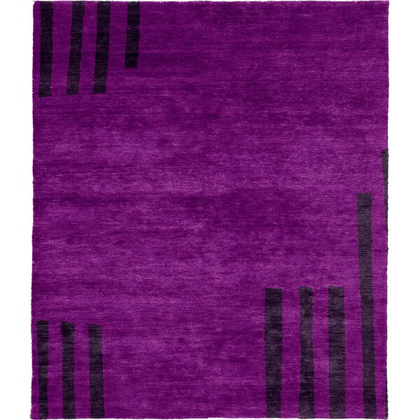 One-of-a-Kind Camak Hand-Knotted Traditional Style Purple 8' x 10' Wool Area Rug