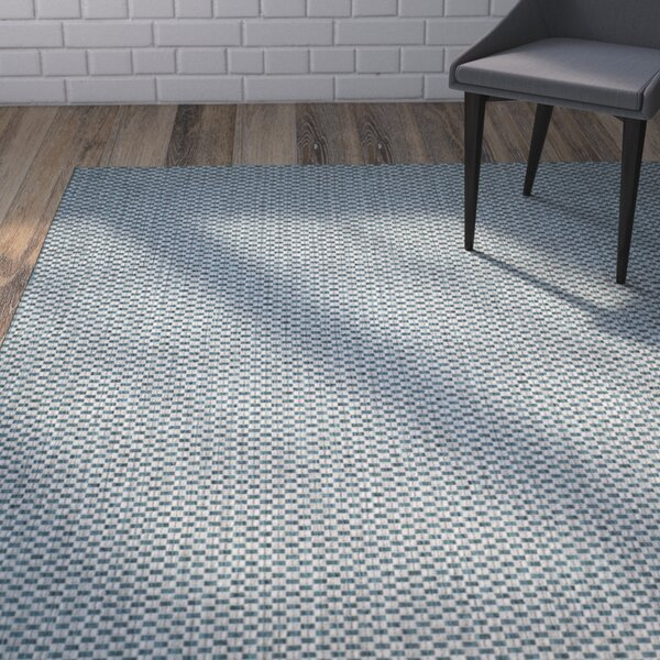 Jefferson Place Turquoise/Light Gray Outdoor Area Rug by Wrought Studio