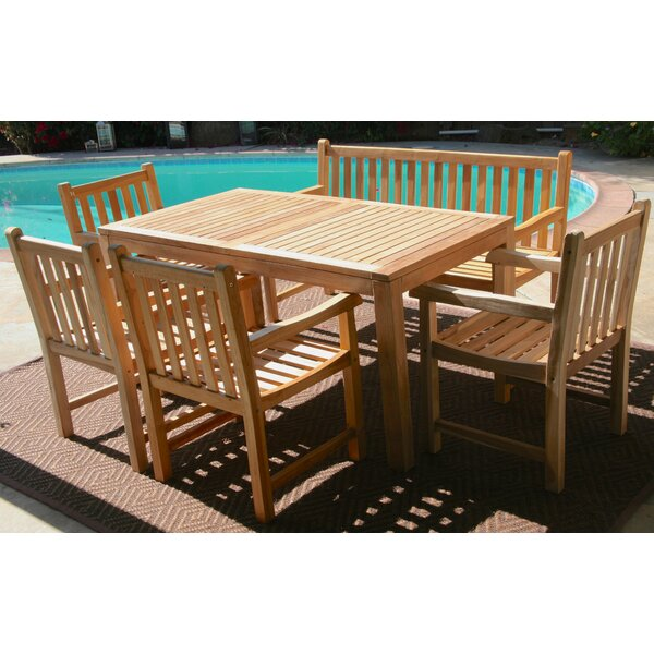 Teak 6 Piece Sunbrella Dining Set with Cushions by Trijaya Living