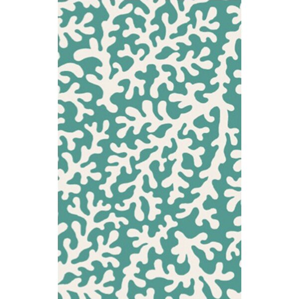 Charlestown Hand-Tufted Emerald/Ivory Area Rug by Highland Dunes