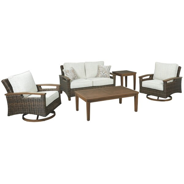 Estill Sectional Seating Group with Cushions by Highland Dunes