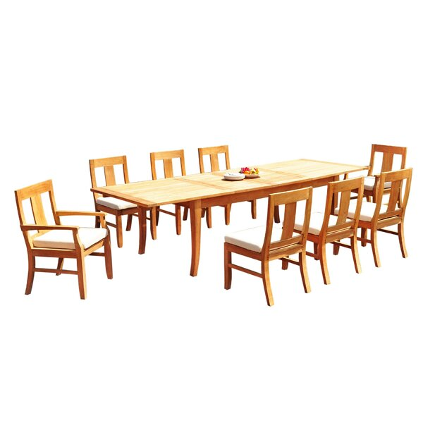 Gonzalo 9 Piece Teak Dining Set by Rosecliff Heights