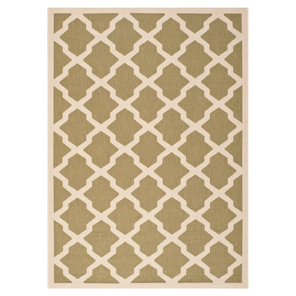 Short Green/Beige Outdoor Loomed Area Rug by Winston Porter